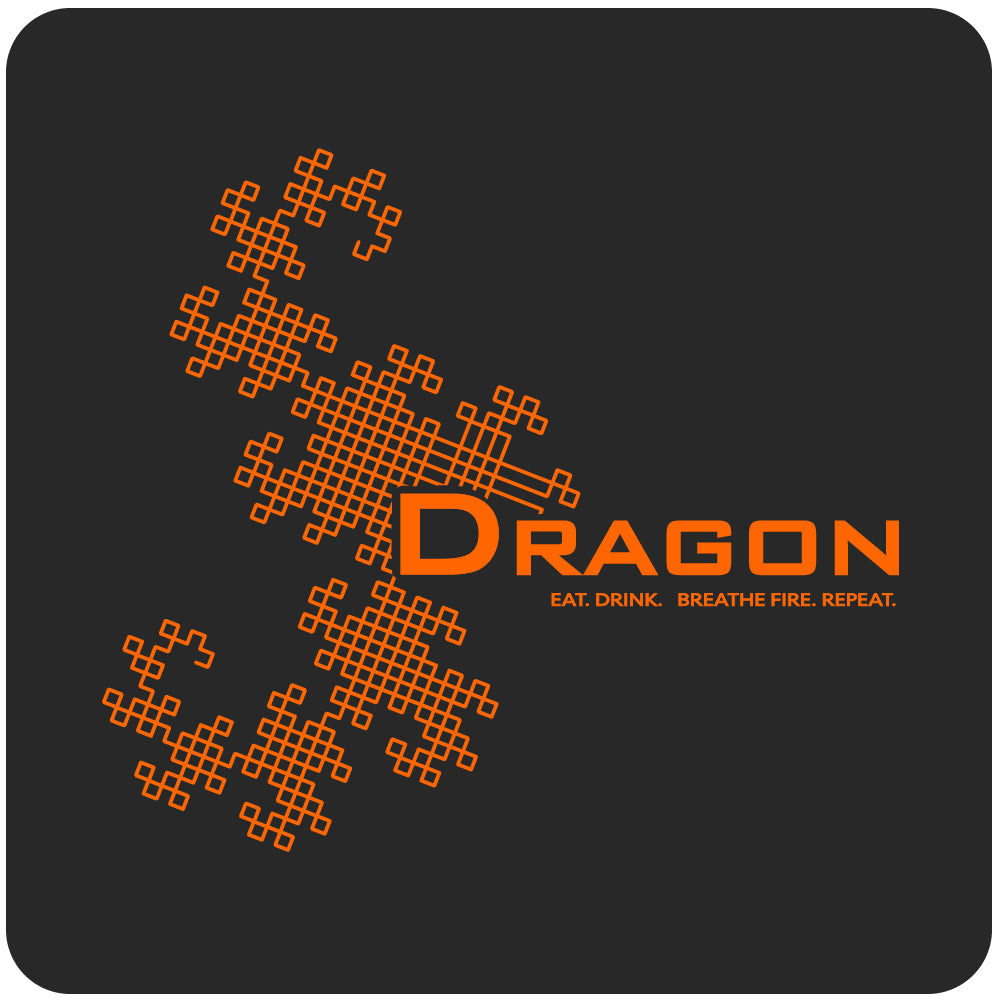 dragon fractal math shirt, black close-up