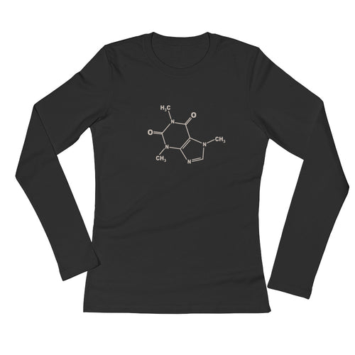 Caffeine Molecule Long-Sleeved Shirt - Women's Slim Fit