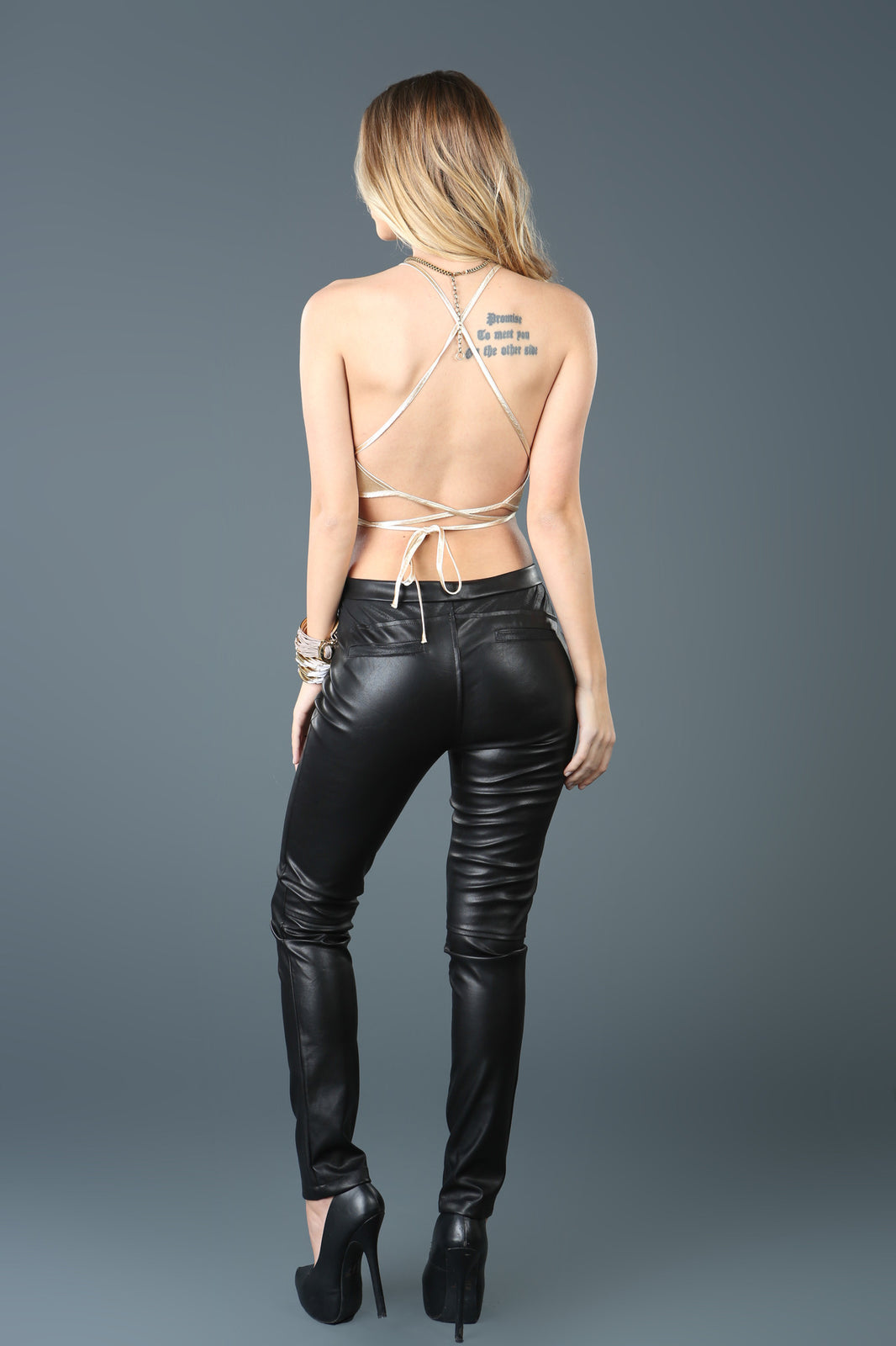 Vegan Black Leather Pants