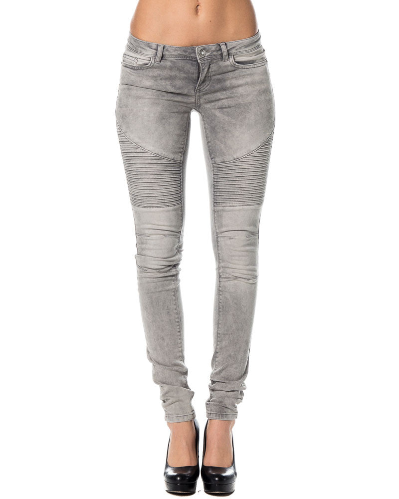 Eve Superslim Biker Jeans Light Grey Denim