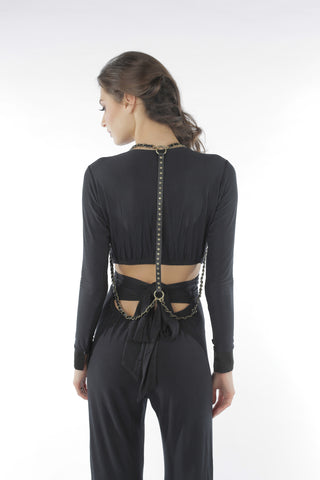 Studded Chain Drape Harness - Black