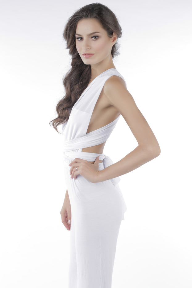 Castles Couture Deep V Jumpsuit White