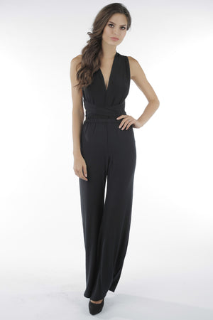 Castles Couture Deep V Jumpsuit Black