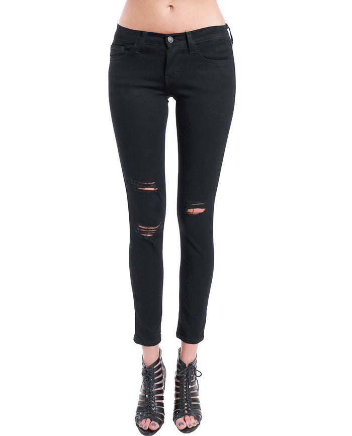 Flying Monkey Ripped Knee Skinny Black Jeans Black