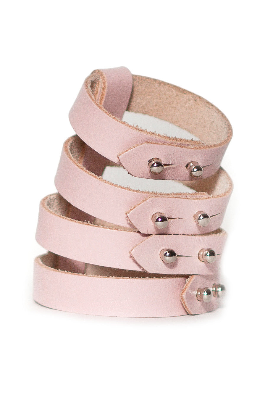 Quad Leather Cuff Light Pink
