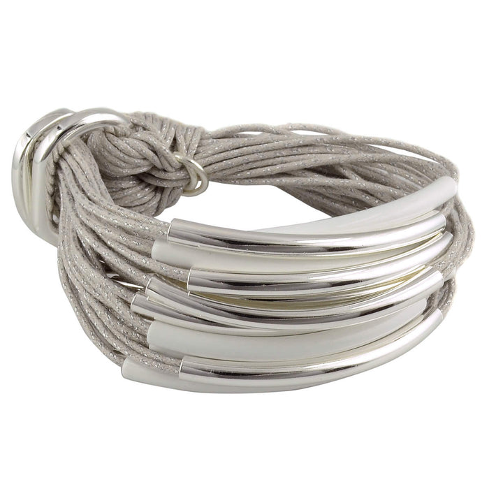 Silver & White Bracelet Ice Grey Cord
