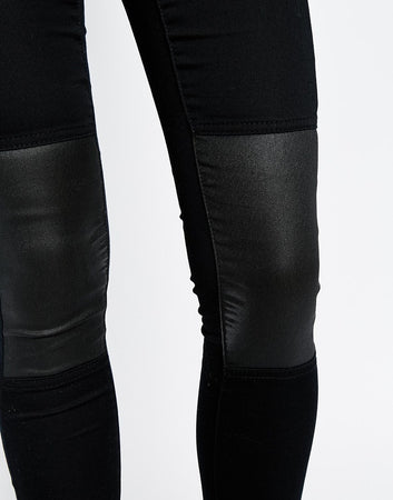 Noisy May Black Slim Coated Knee Jeans