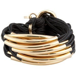 Cords & Gold Tube Bracelet by Gillian Julius