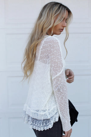 Knit & Lace Lightweight Top