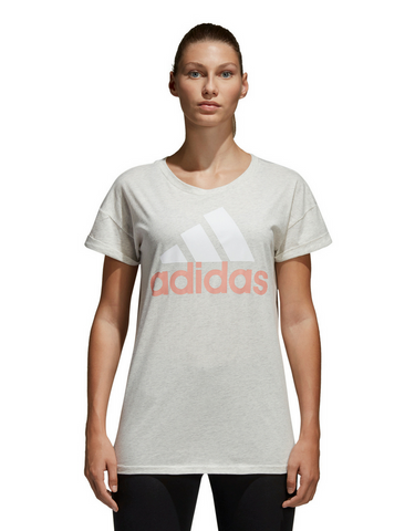 Adidas Essentials Linear Loose Tee - White Heather