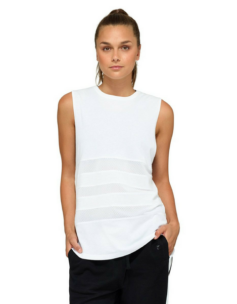 Jaggad Kishi Panelled Muscle Tank - White - Active Style