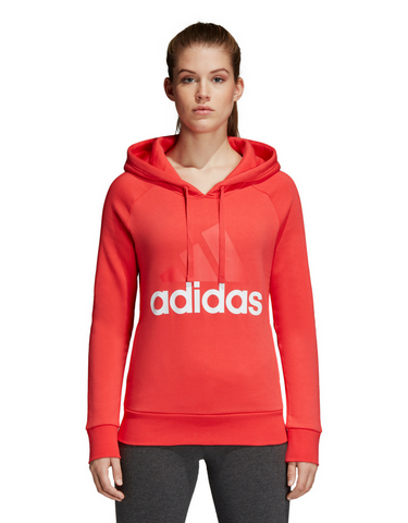 Adidas Essential Linear Fleece Hoodie - Real Coral - Active Style