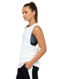 Jaggad Kishi Panelled Muscle Tank - White - Jaggad Kishi Panelled Muscle Tank - White