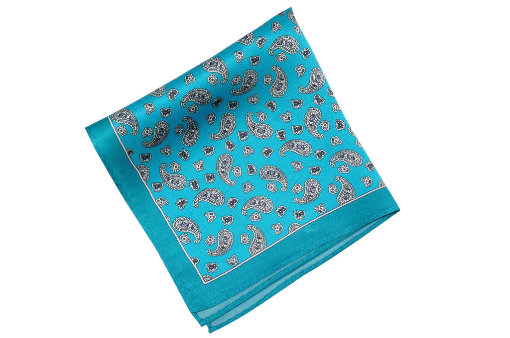 Turquoise Paisley Silk Pocket Square