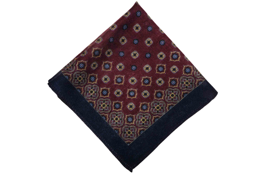Abingdon Burgundy Wool Pocket Square