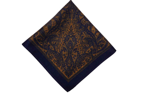 Amhersbury Blue Wool Pocket Square