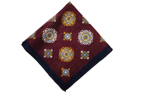 Ampthill Burgundy Wool Pocket Square