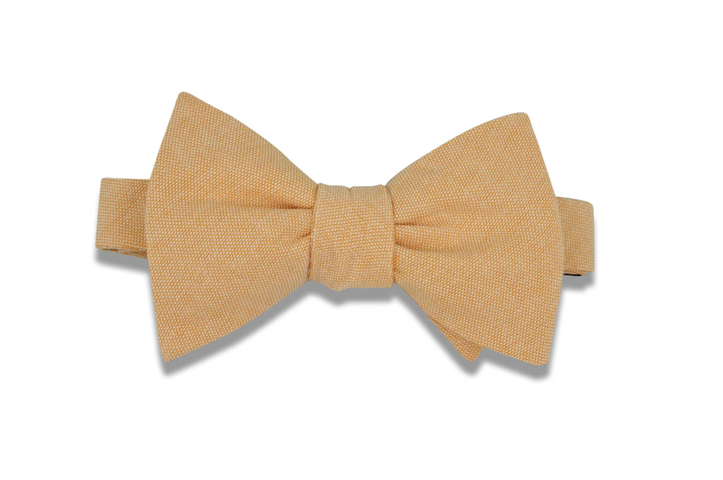 Apricot Chambray Cotton Bow Tie (self-tie)