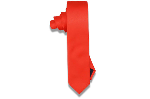 Aristocrat Orange Polyester Skinny Tie