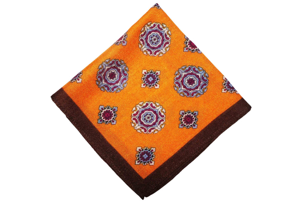 Ashington Orange Wool Pocket Square
