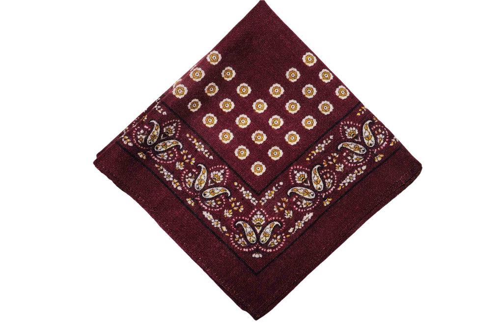 Axminister Burgundy Wool Pocket Square
