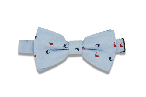 Baby Blue Dolphin Cotton Bow Tie (pre-tied)