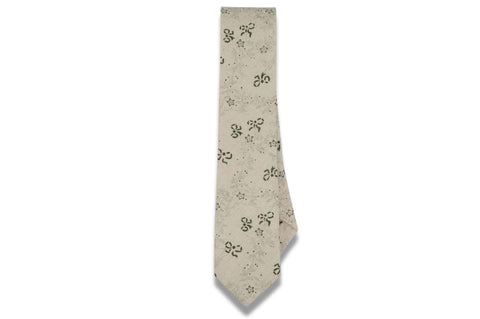 Beige Fade Flowers Cotton Skinny Tie