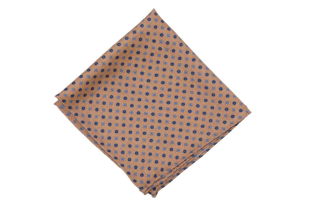 Beige Field Wool Pocket Square