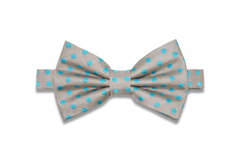 Champagne Turquoise Dots Silk Bow Tie (pre-tied)