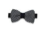 Black Checkered Knitted Bow Tie (pre-tied)