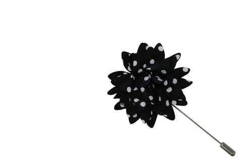 Black Dot Lapel Flower