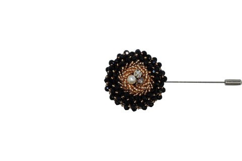 Black Gold Jewel Lapel Flower