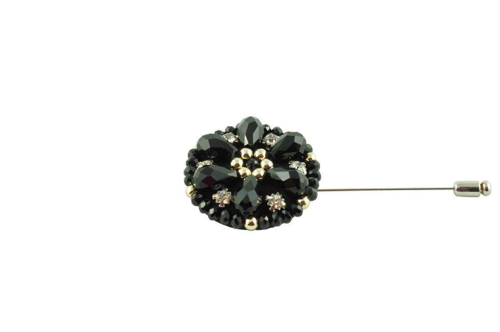 Black Jewelled Lapel Flower