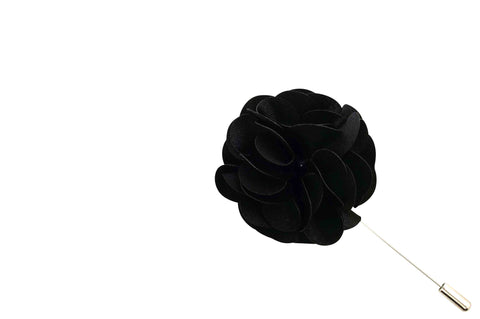 Black Lap Lapel Flower