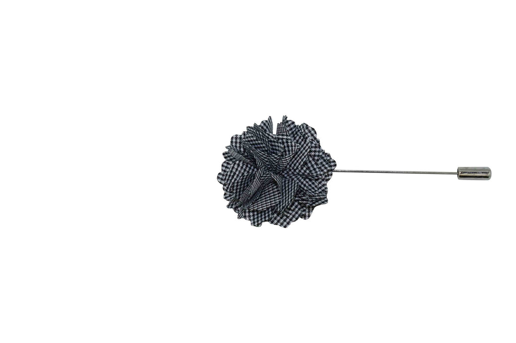 Black Mini Checks Lapel Flower