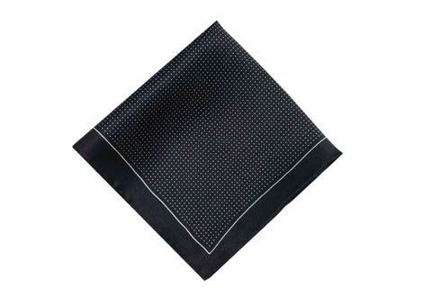 Black Pin Dots Silk Pocket Square