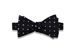 Black Polka Dots Silk Bow Tie (self-tie)