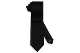 Solid Black Satin Silk Tie