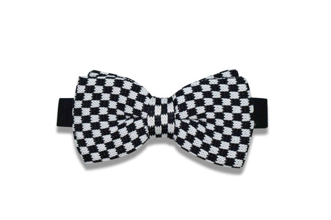 Black White Check Knitted Bow Tie (pre-tied)