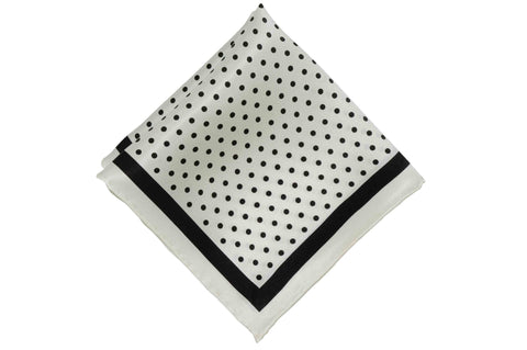 Black White Dotted Silk Pocket Square