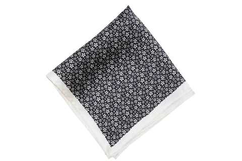 Black White Flowers Silk Pocket Square