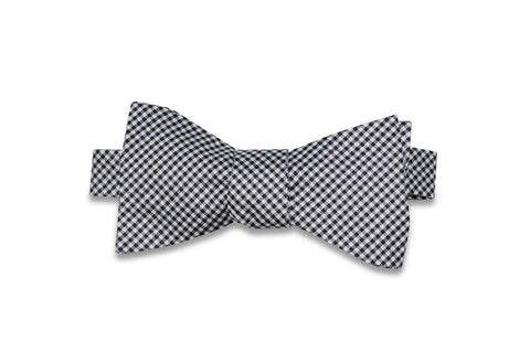 Black White Gingham Silk Bow Tie (self-tie)