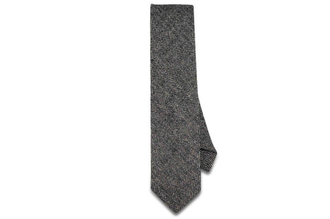 Black White Herringbone Wool Skinny Tie