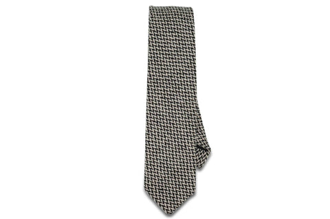 Black White Intersect Wool Skinny Tie