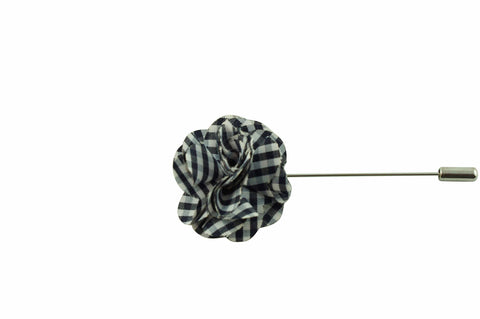 Black White Plaid Lapel Flower