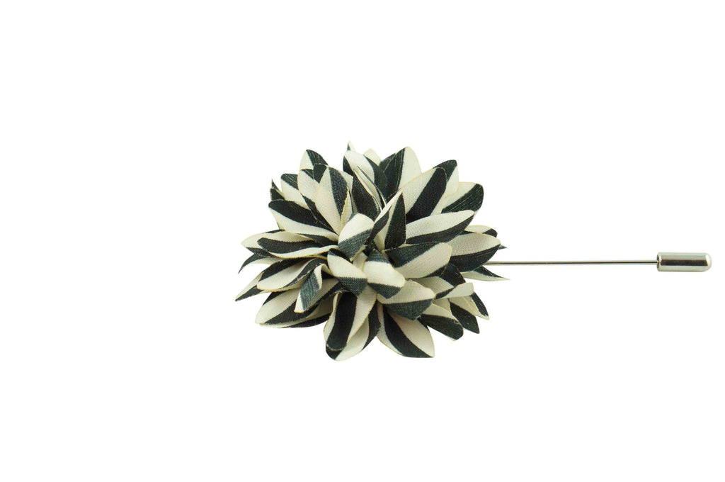 Black White Stripes Lapel Flower