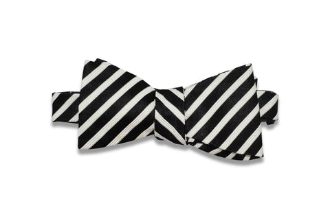 Black White Stripes Silk Bow Tie (Self-Tie)
