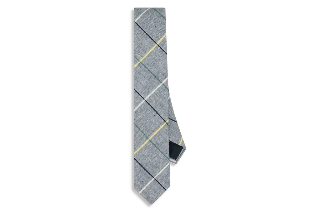 Blue Boxed Cotton Skinny Tie