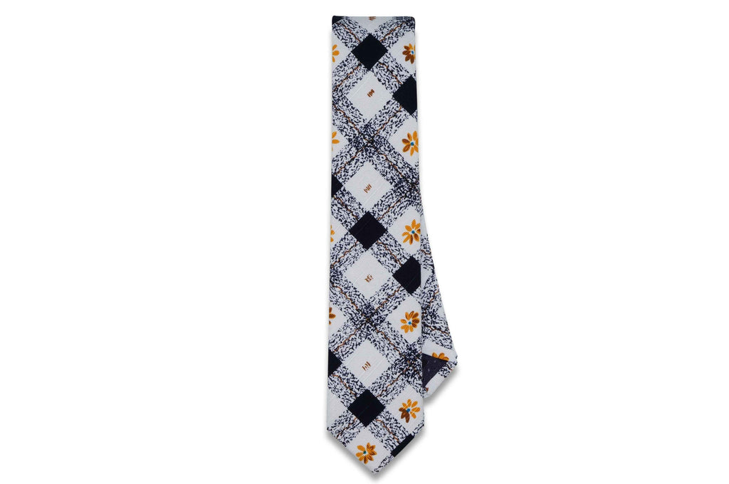 Blue Check Flowers Cotton Skinny Tie