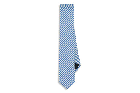 Blue Diagonal Stripes Cotton Skinny Tie